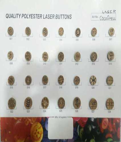 2 Hole Coconut Shell Buttons With Laser Design