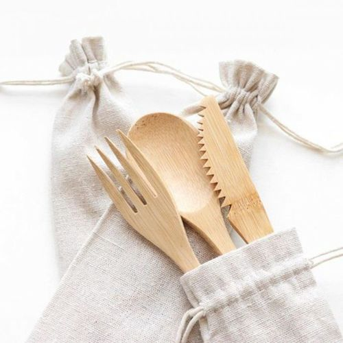 Eco-Friendly Bamboo Kitchen Dinner Tableware Cutlery Set