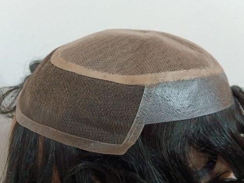 Synthetic Polymer Black Miraz Hair Patch