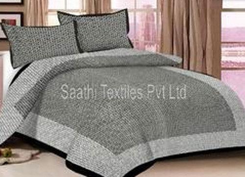 Gray Cotton Printed Bed Sheet