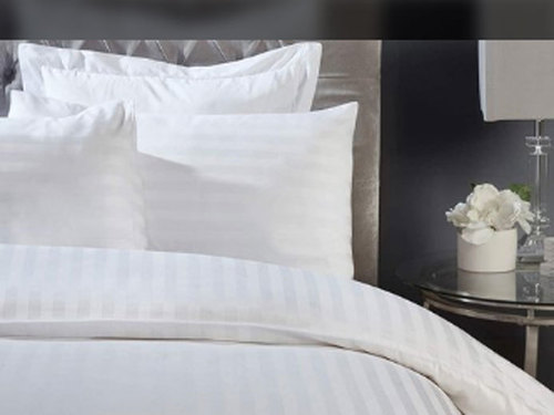 Hotel White Satin Stripe Bedsheet