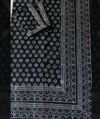 Indigo Block Cotton Printed Bed Sheet