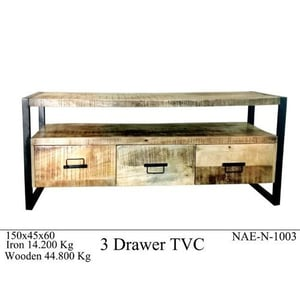 Industrial and Vintage Solid Mango Wood and Iron Tv Cabinet