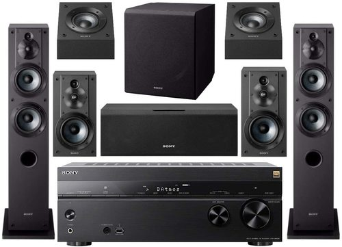 STR-DN1080 7.2-Channel Home Theater AV Receiver Bundled With Active Subwoofer And Seven Speakers (9 Items)