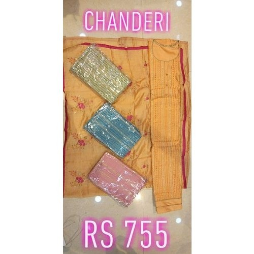 Ladies Embroidered Chanderi Suits