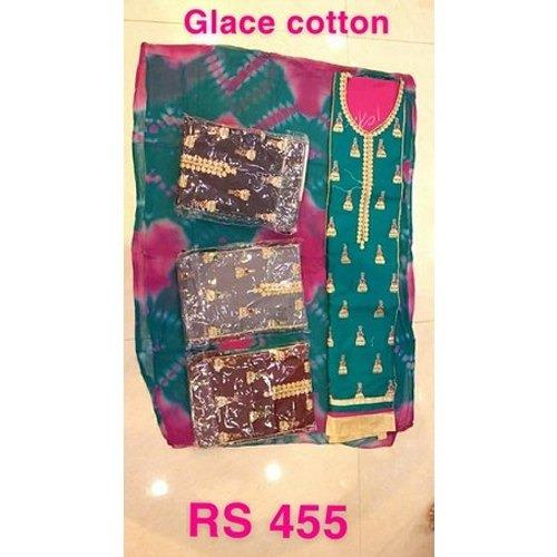 Ladies Glace Cotton Unstitched Suits