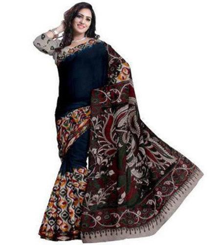 Ladies Party Wear Cotton Printed Kalamkari Saree