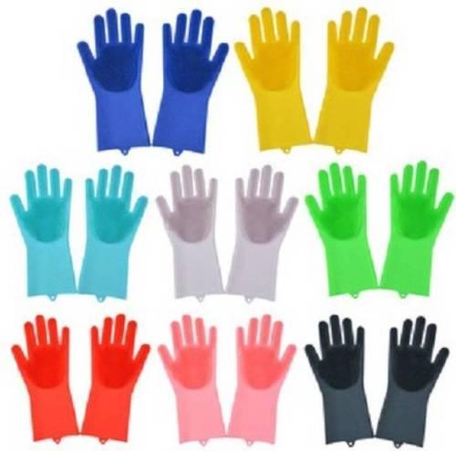 Multi Color Silicon Dish Washing Gloves