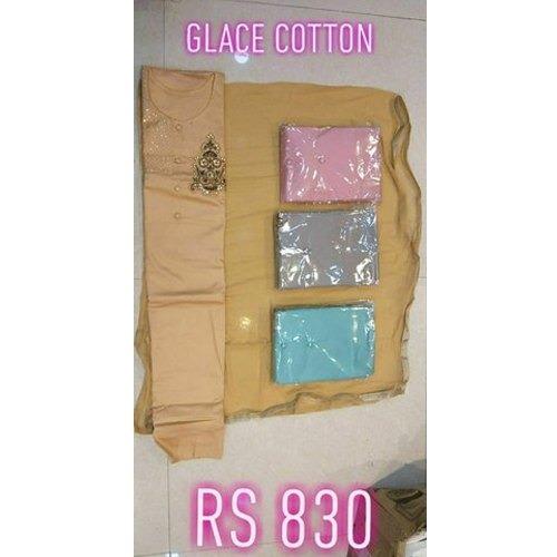 Party Wear Glace Cotton Suits