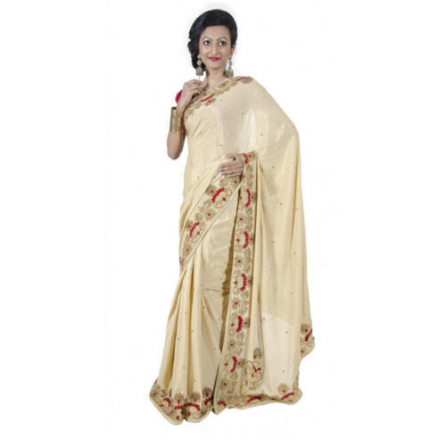 Golden and Red Party Wear Ladies Hand Embroidered Saree With Blouse Piece