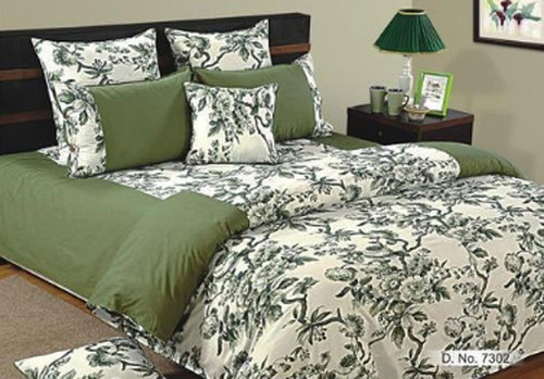Green And White Cotton Printed Bed Sheet