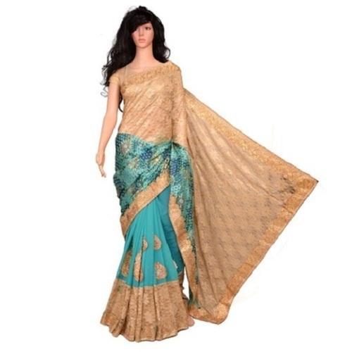 Net Party Wear Fancy Lace Border Saree with Blouse Piece