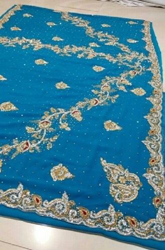 Party Wear Blue Stone Work Saree