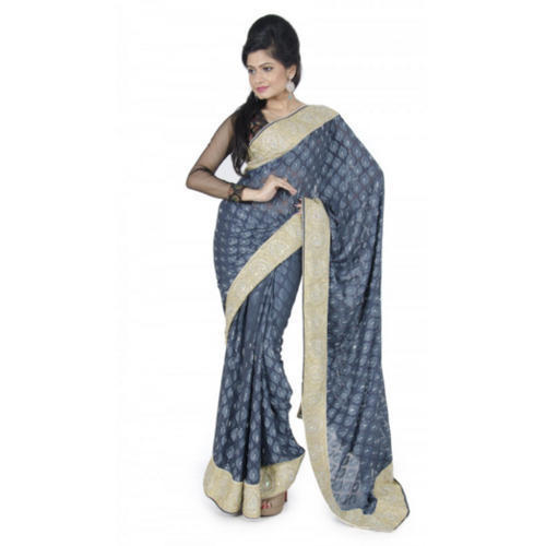 Party Wear Grey And Golden Georgette Fancy Saree