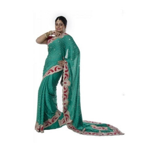 Party Wear Ladies Fancy Saree With Blouse Piece
