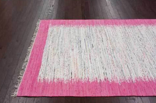 Pink And White Cotton Rug