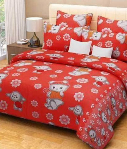 Red Printed Hotel Bed Sheet
