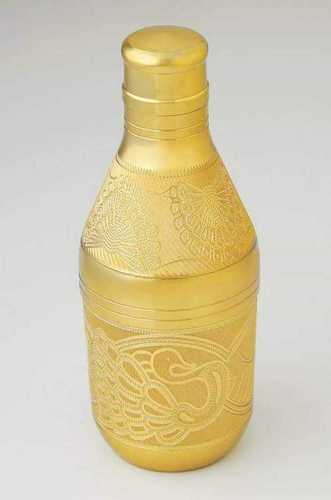 Engraved Pure Brass Water Bottle