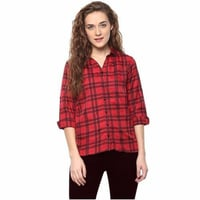 Semi Formal Ladies Cotton Red Check Shirt