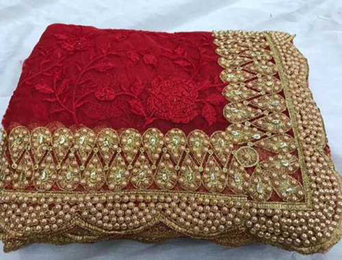 Red Ladies Net Designer Saree