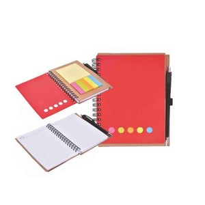 A6 Eco Notebook Red With Sticky Note