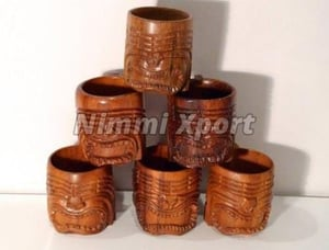 Wooden Carved Decorative Cups