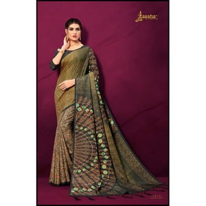 Chiffon Printed Sarees With Unstitched Blouse