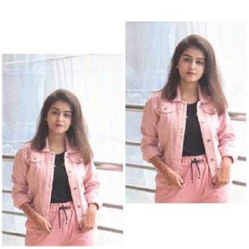 Ladies Pink Denim Jacket Washable