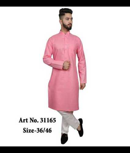 Mens Plain Cotton Kurta Pajama Set