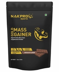 Nakpro Sports Gold Mass Gainer Protein Powder With Digestive Enzymes Vitamin And Minerals - Chocolate