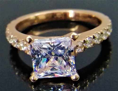 Princess Cut Simulated Diamond Sterling Silver Engagement Rose Gold Plated Ring