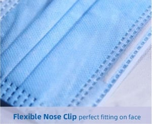 Face Mask with Flexible Nose Clip