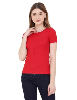 Red Color Women's Stretchable Top
