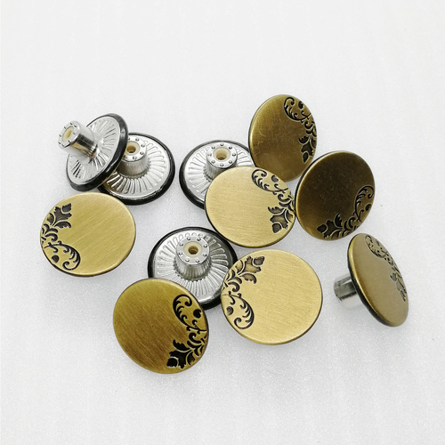 18mm Vintage Metal Gold Printing Rubber Core Jeans Button For Denim Accessories Hd137-19