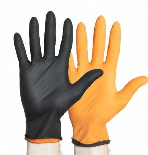 Black And Orange Fire Nitrile PF Exam Gloves
