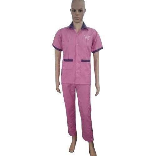 Pink Plain Cotton Nurse Uniform For Hospital