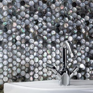 Black Lip Mother of Pearl Round Shell Mosaic Tile for Bathroom MS1035