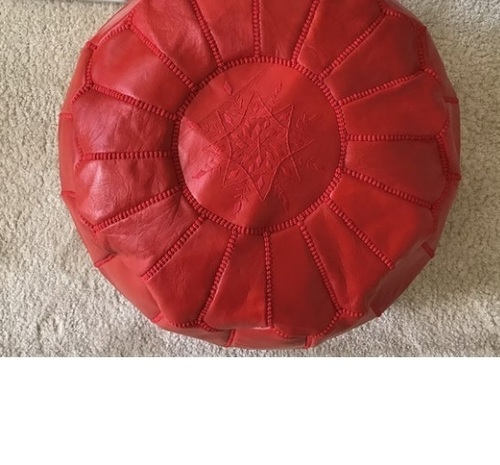 Designer Red Leather Pouf For Decor
