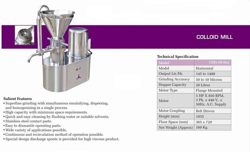 Colloid Mill Vertical Deluxe Model