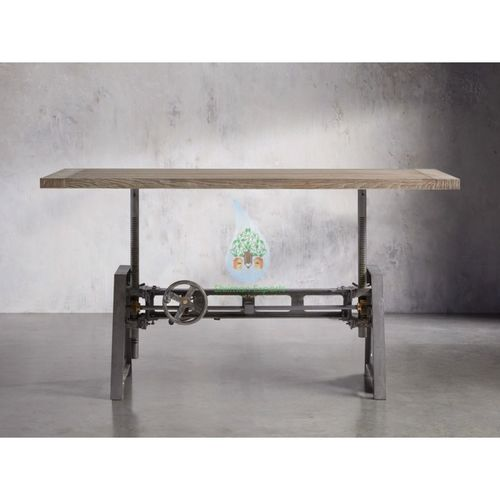 Height Adjustable Cast Iron Crank Dining Table With Solid Wood Top