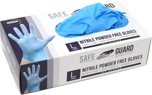 Blue Colored Disposable Gloves Material: Latex