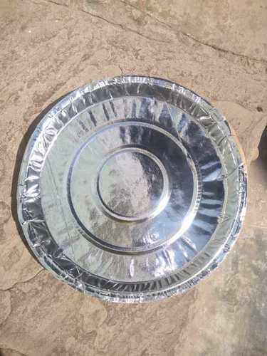 Eco Friendly 12 Inch Silver Coated Paper Thali