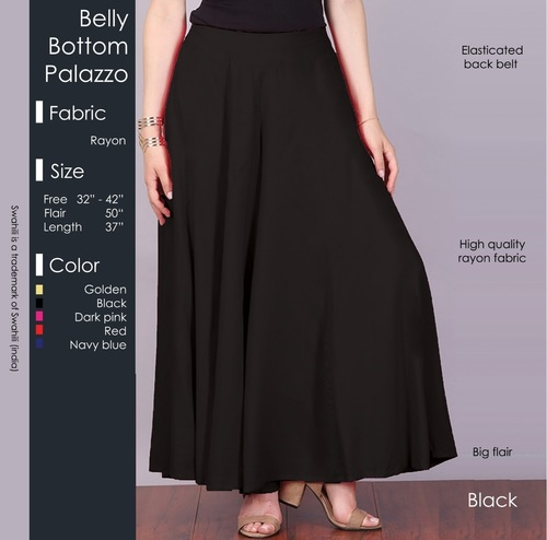 Belly Bottom Palazzo Pants Length: 37 Inch (in)