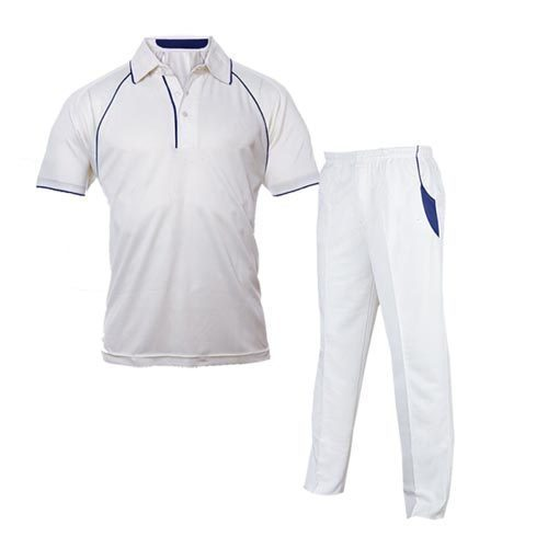 White And Blue Cricket Uniform