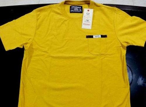 Mens Yellow Cotton T- Shirt