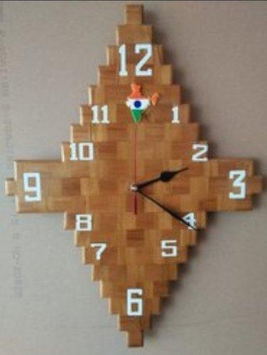 Stylish Wooden Wall Clock Size: 350x300mm
