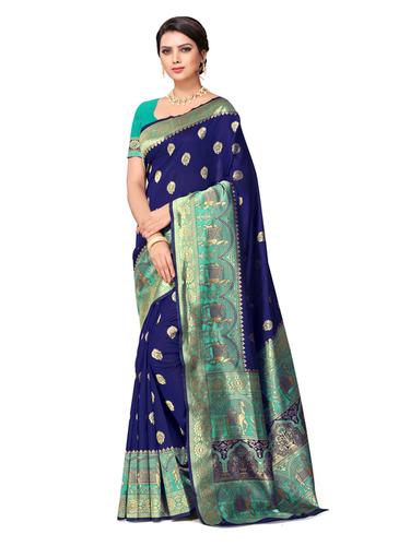 Woman's Silk Banarasi Silk Saree With Unstitched Blouse Piece