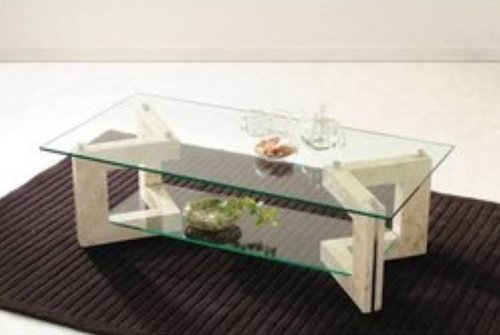 Natural Wood Color Glass Center Table