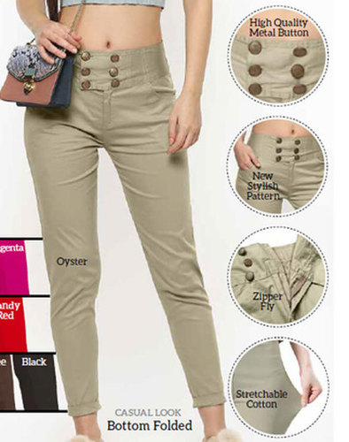 Cream, Brown Ladies Plain Sapphire Pant