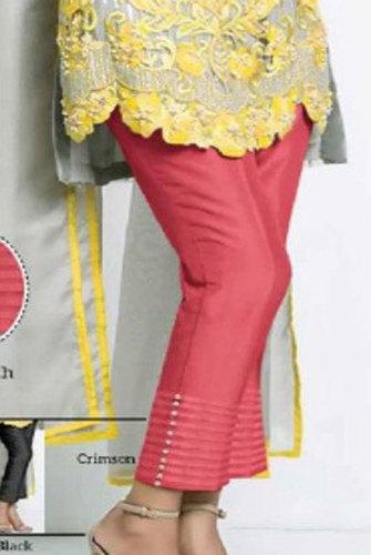 Red Ladies Printed Pintex Pant